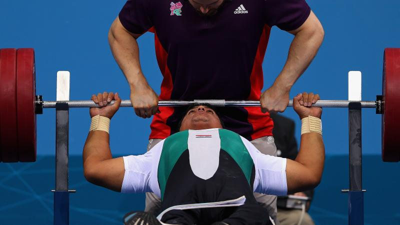 Jabbar Jaber of Iraq competes in the Men's -90 kg Powerlifting on day 6 of the London 2012 Paralympic Games