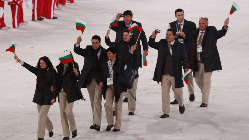 The Bulgarian team is led through the stadium by flag bearer Aleksandar Stoyanov during the Opening Ceremony of the 2010 Vancouver Winter Paralympic Games
