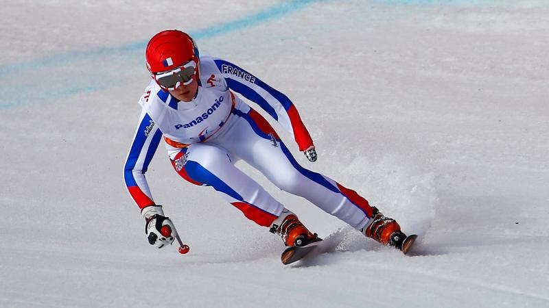 Marie Bochet of France competes in theWomen's Downhill Standing during day one of Sochi 2014 Paralympic Winter Games
