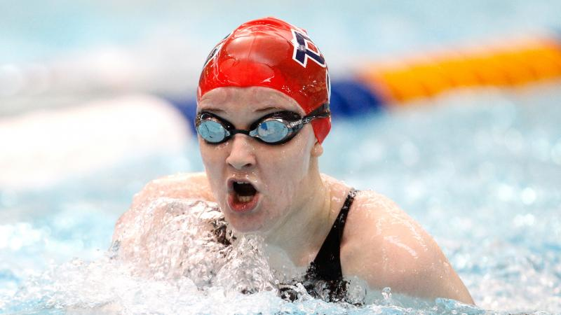 British swimmer Stephanie Slater comes up for a breath of air.