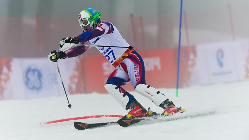 Slovakia's Miroslav Haraus competes in super-combined at Sochi 2014.