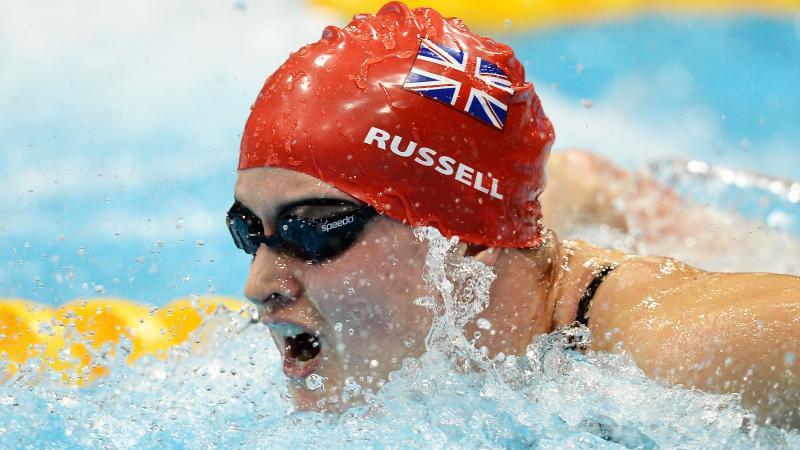 Great Britain's Hannah Russell competing in the 100m butterfly S12 final at London 2012.