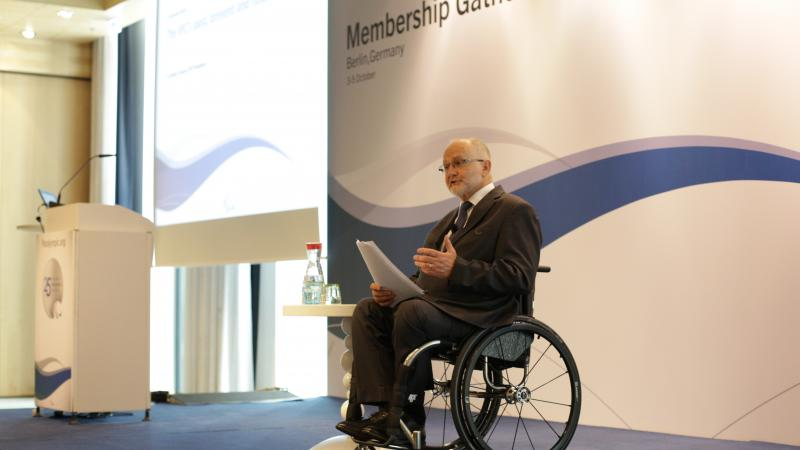 Sir Philip Craven speaking on stage