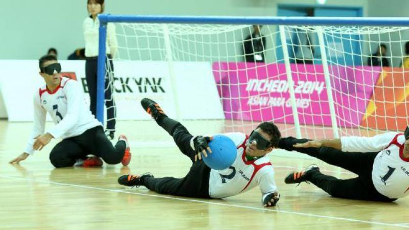 Players from the Iranian goalball team play in the goal medal match at the Incheon 2014 Asian Para Games.