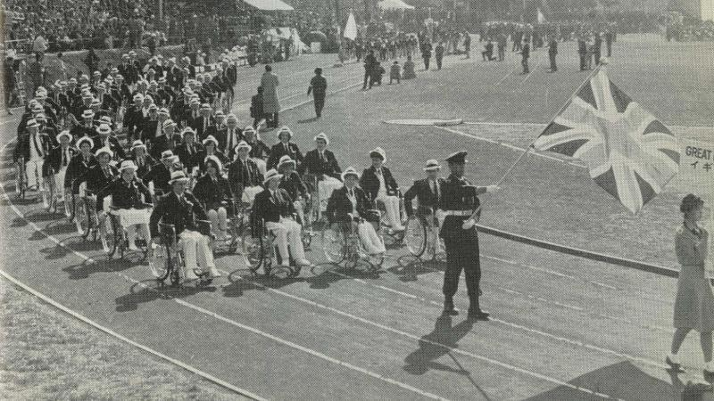 The British team enters the stadium at the Opening Ceremony of the Tokyo 1964 Paralympic Games