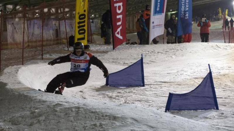 American rider Mike Schultz had an incredible debut at the para-snowboard World Cup in Landgraaf, the Netherlands.