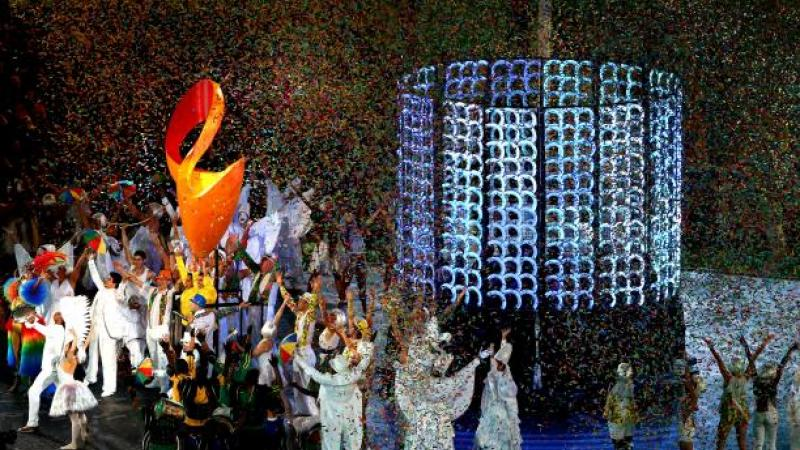 Artists representing Rio 2016 peform during the closing ceremony at the London 2012 Paralympic Games