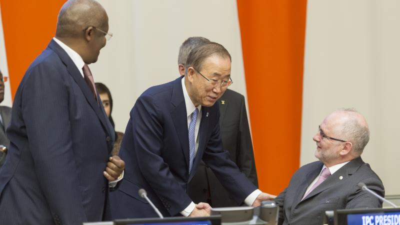 IPC President Sir Philip Craven and UN Secretary General Ban Ki-Moon at the United Nations headquarters in New York, USA