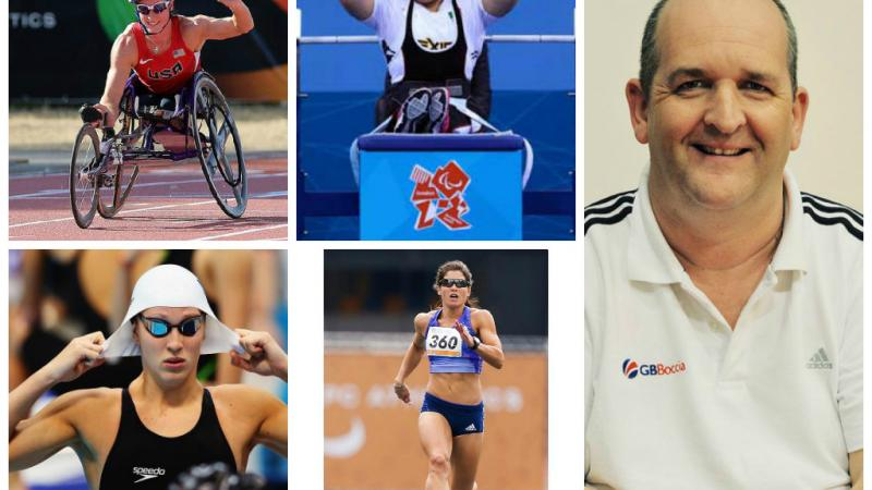 Collage of five athletes