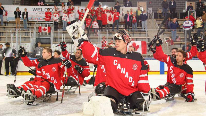 Canada salutes the crowd after defeating Russia, 3-2, in their semi-final game at Buffalo 2015.