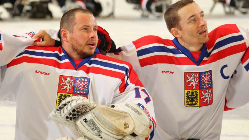 Jan Matousek and Zdenek Safranek at the 2015 IPC Ice Sledge Hockey World Championships A-Pool in Buffalo, USA.