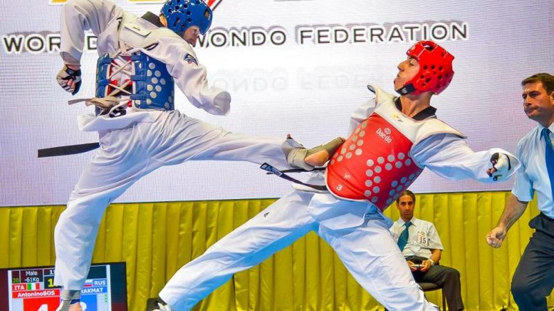 Two athletes doing taekwondo