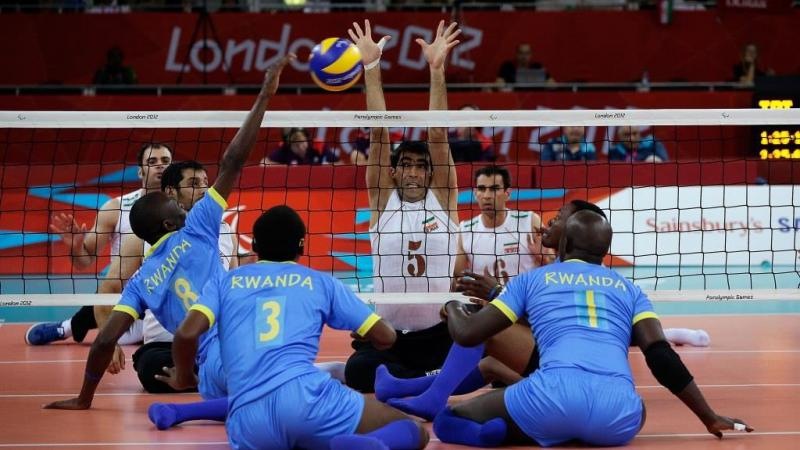 Rwanda vs Iran during their Pool B preliminary round of the Sitting Volleyball tournament at the London 2012 Paralympic Games.