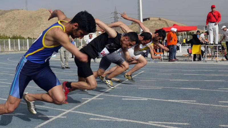 Iran athletes take off during a race in the Iran National Para-Athletics Championships.