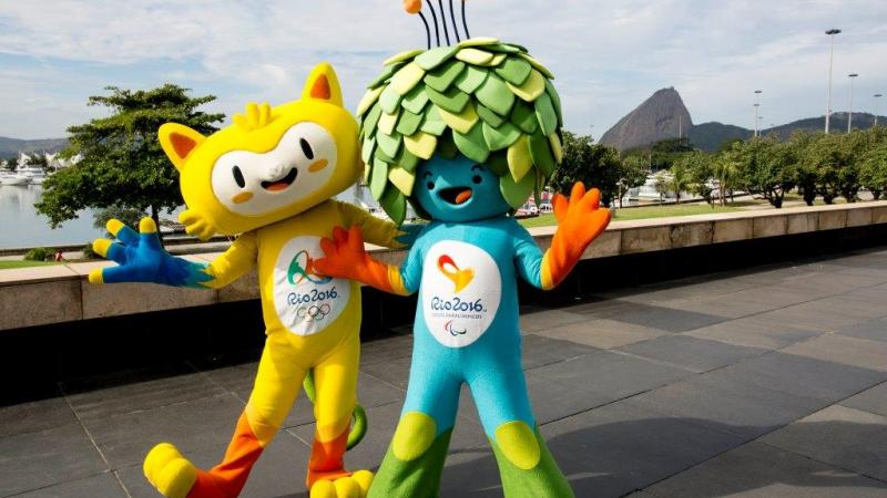 Vinicius and Tom, mascots for the Rio 2016 Olympic and Paralympic Games.