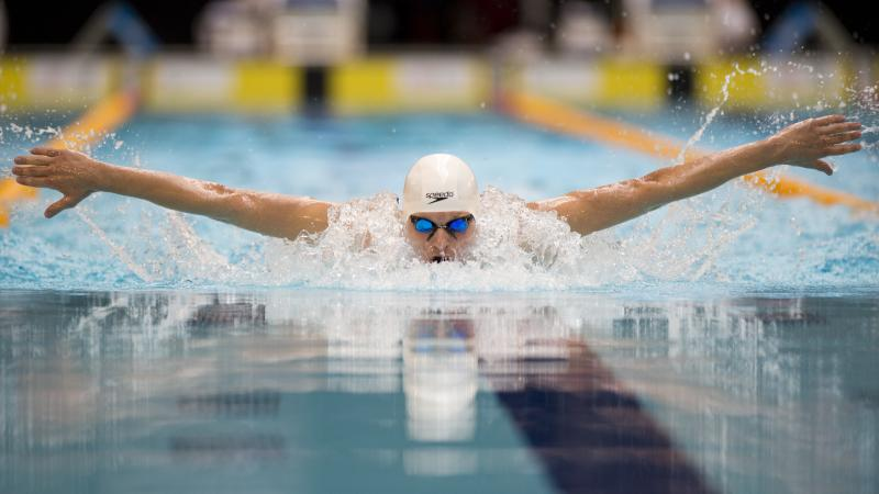 Ihar Boki competes at the 2015 IPC Swimming World Championships in Glasgow, Great Britain.