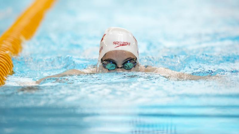 Aurelie Rivard competes at the 2015 IPC Swimming World Championships Glasgow, Great Britain.