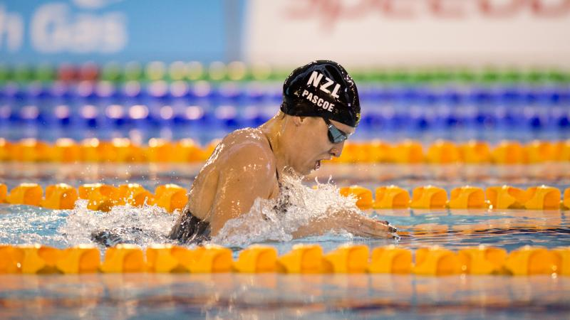 Sophie Pascoe competes in the Women's 200m Individual Medley SM10 at the 2015 IPC Swimming World Championships in Glasgow.