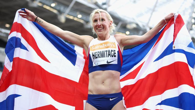 Georgina Hermitage of Great Britain celebrates winning the Women's 400m T37 race and breaking the world record at the 2015 IPC Athletics Grand Prix Final.