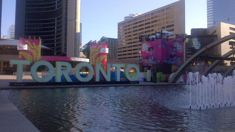 This iconic Toronto sign in Nathan Philiips Square has become a hit during Toronto 2015.