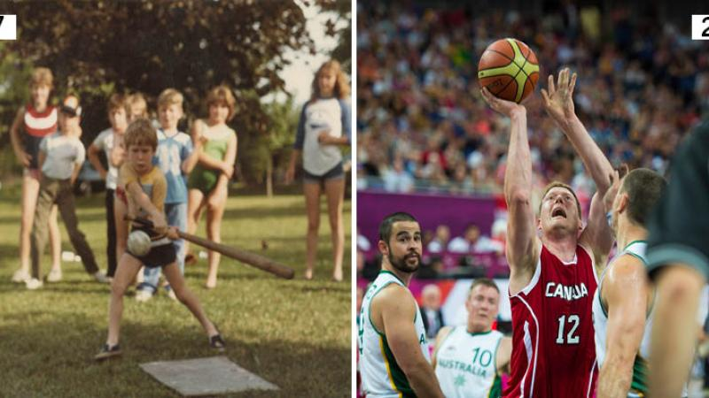 Two pictures, one of a kid with a baseball racket and one of a wheelchair basketball player
