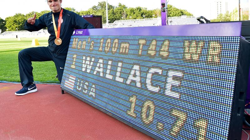 The USA's Jarryd Wallace after breaking the 100m T44 world record at Toronto 2015.