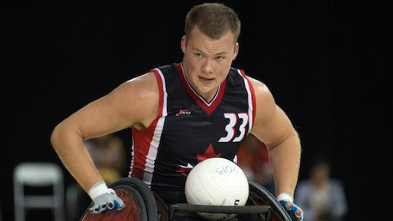 Canada's Zak Madell in the Toronto 2015 wheelchair rugby gold medal match against USA.