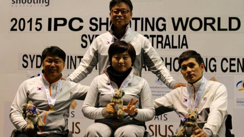 Chul Park, Juhee Lee and Ahn Kyounghee at the 2015 IPC Shooting World Cup in Sydney, Australia.