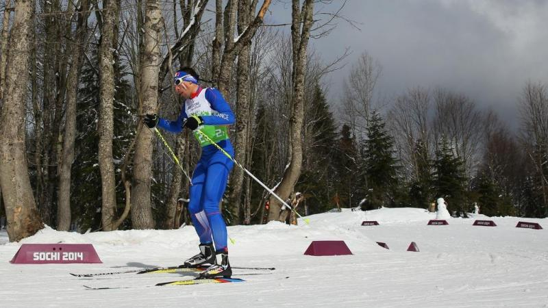 Thomas Clarion of France competes in the 4 x 2.5km Open Relay cross-country at the Sochi 2014 Paralympic Winter Games.