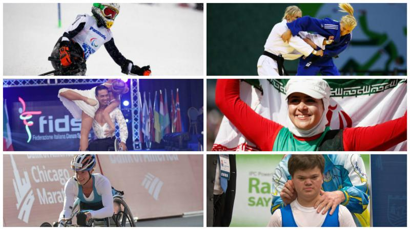Collage of six photos showing a wheelchair racer, a wheelchair dance sport couple, judoka, powerlifter, sit skier, archer