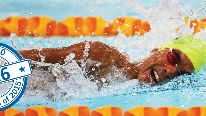 close up shot of Daniel Dias swimming and winning gold