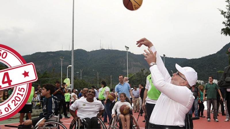 Sir Philip playing wheelchair basketball in Rio