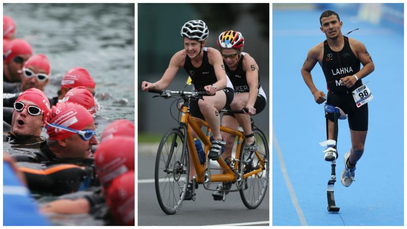 collage of three photos, one with swimmers in open water, one with two cyclists on a tandem, one with a runner with prosthetic leg