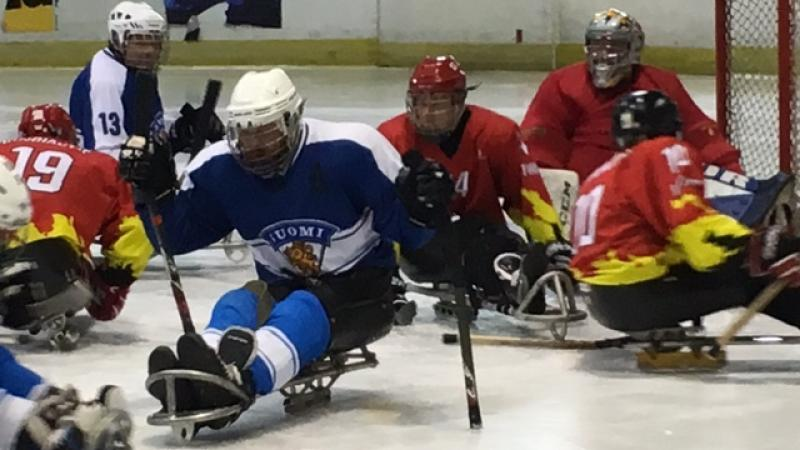 View on ice sledge hockey field of play