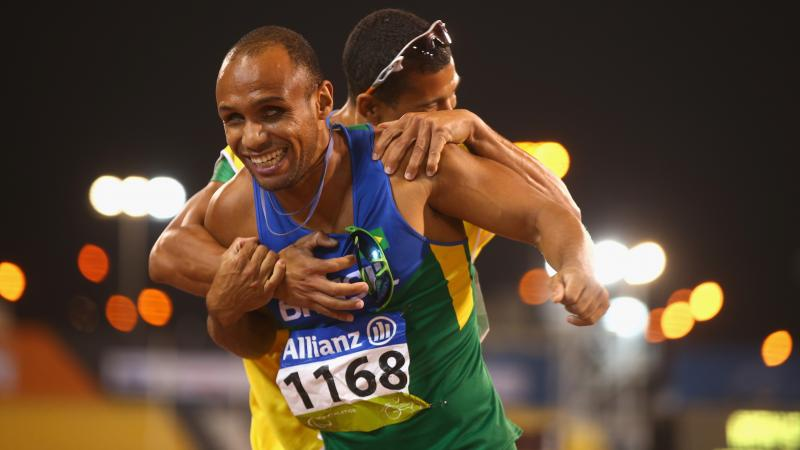 Brazil's Felipe Gomes of Brazil celebrates winning the men's 200m T11 final at the 2015 IPC Athletics World Championships in Doha, Qatar.