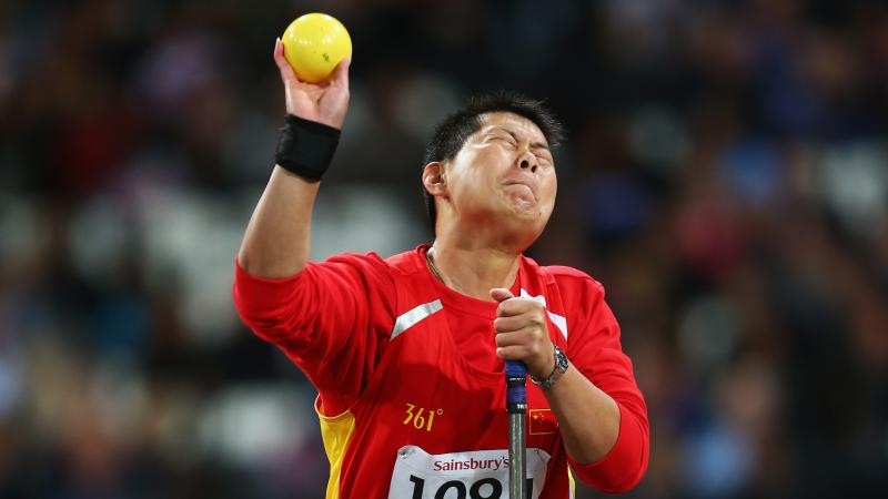 China's Liwan Yang competes in the women's shot put - F54/55/56 final at  the London 2012 Paralympic Games.