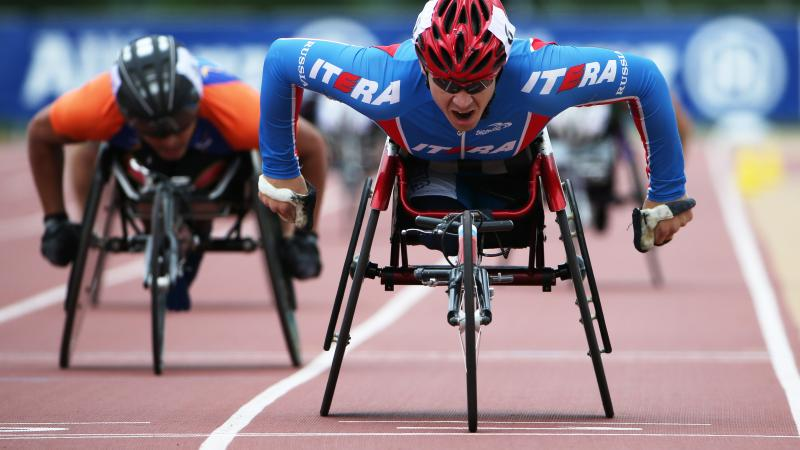 Russia's Alexey Bychenok competes in the 800m T54 race during the 2015 ParAthletics Grand Prix in Nottwil, Switzerland.