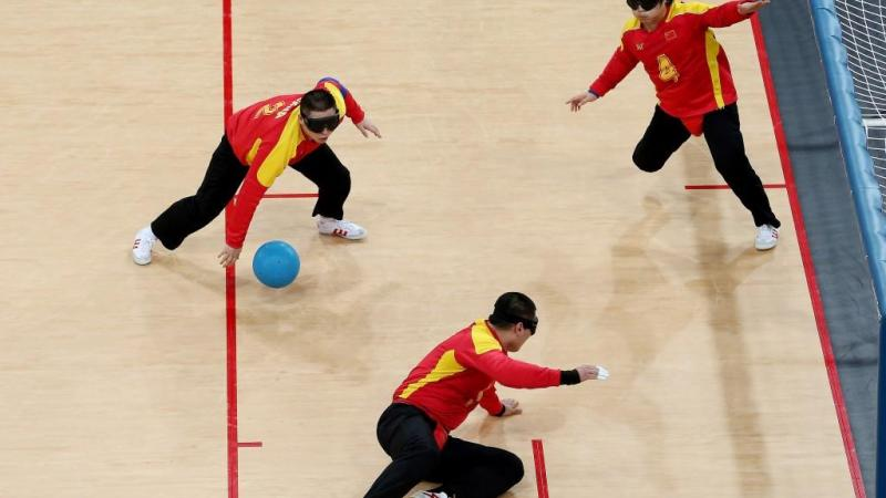 Team China in action during the Men's Group B Goalball match between China and Iran at the London 2012 Paralympic Games.