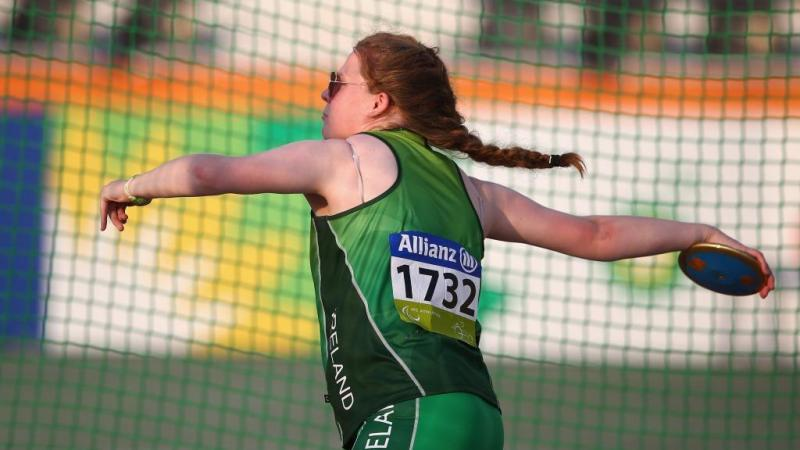 Noelle Lenihan of Ireland competes in the women's discus F38 final at the 2015 IPC Athletics World Championships in Doha, Qatar.