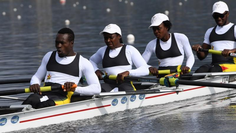 The Zimbabwean para LTA coxed four training in Gavirate, Italy.