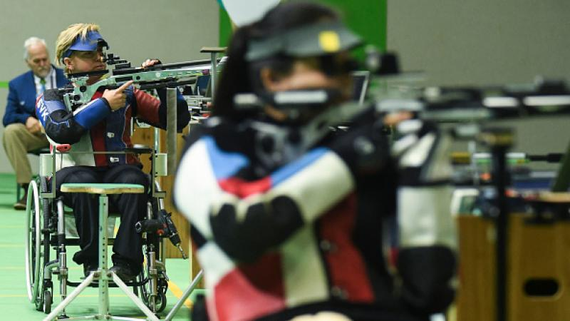 Veronika Vadovicova gold medalist at Shooting R2 Women's 10m Air Rifle Standing SH1 Final