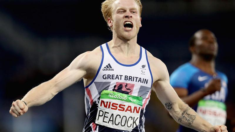 Jonnie Peacock of Great Britain celebrates after winning the men's 100 meter T44