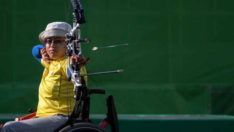 Xinliang Ai CHN competing against Turkey in the Mixed Team Compound Open Archery semi-final match at the Sambodromo