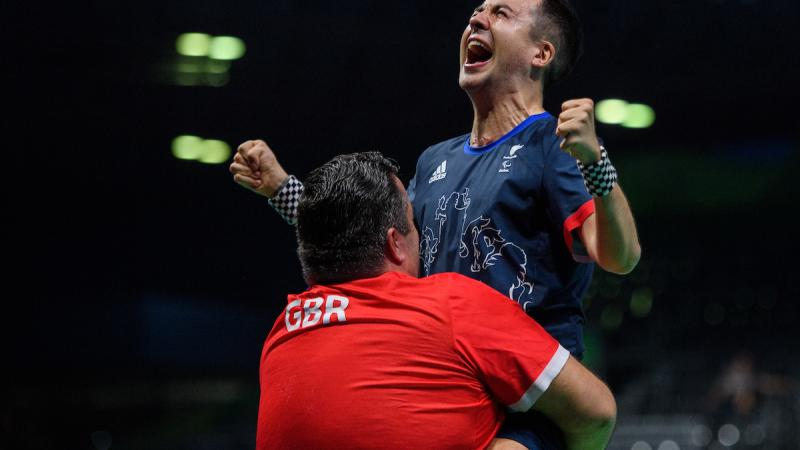 Will Bayley celebrates his 3-1 win against Israel Pereira Stroh BRA in the Men's Singles - Class 7