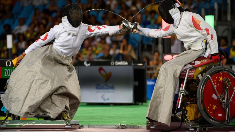 Xufeng Zou CHN (right handed) wins the Gold Medal in wheelchair fencing