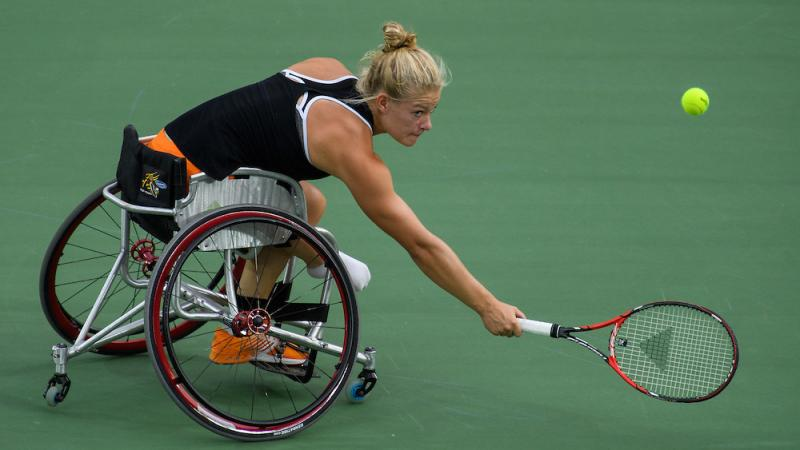 Diede De Groot of the Netherlands playing against Yui Kamiji JPN in the Women's Singles Bronze Medal Match. Wheelchair Tennis at the Rio 2016 Paralympic Games.