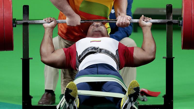 Fabio Torres Silva of Colombia competes in the Powerlifting - Men's -97kg Group A Final at the Rio 2016 Paralympic Games.