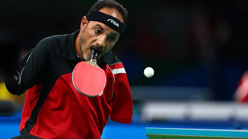 Ibrahim Hamadtou of Egypt competes in the men's singles Table Tennis - Class 6 at the Rio 2016 Paralympic Games.