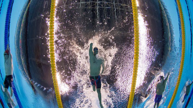 Daniel Dias of Brazil competes in the Men's 200m Freestyle S5 Final at the Rio 2016 Paralympic Games.