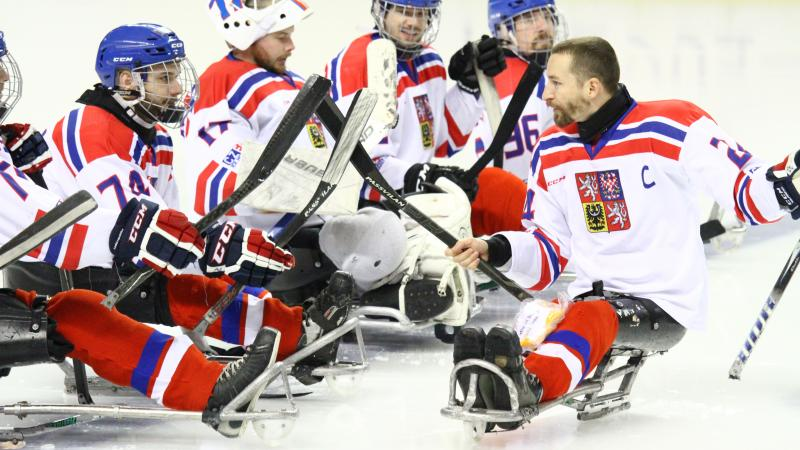Sledge hockey players on the ice